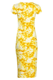 Tie Dye Cap Sleeve Midi Dress - Yellow Womens Midi Dresses FAIRWEATHER