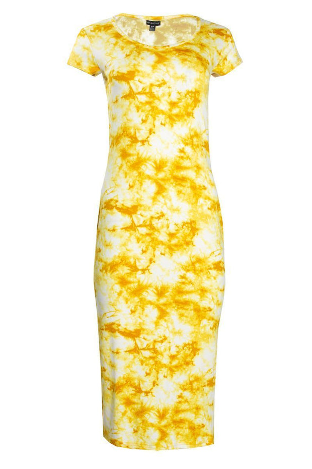 Tie Dye Cap Sleeve Midi Dress - Yellow Womens Midi Dresses FAIRWEATHER S
