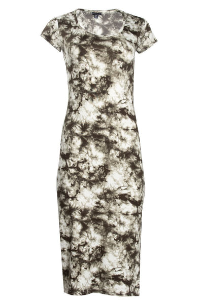 Tie Dye Cap Sleeve Midi Dress - Olive Womens Midi Dresses FAIRWEATHER S