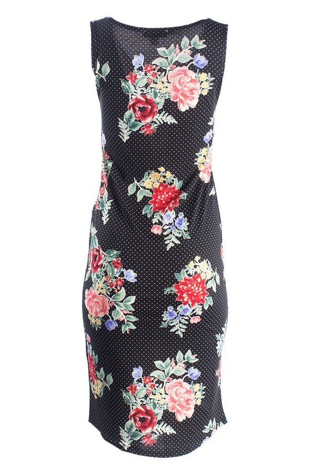 Floral Midi Sundress With Round Hem - Black