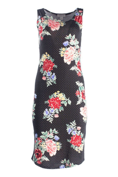 Floral Midi Sundress With Round Hem - Black Sundresses FAIRWEATHER S