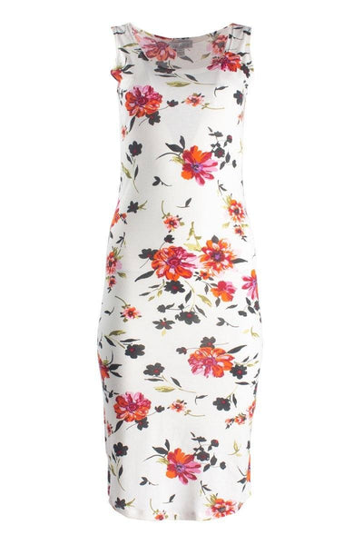 Floral Midi Sundress With Round Hem - White Print Sundresses FAIRWEATHER S
