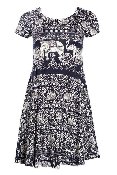 Patterned Cap Sleeve Day Dress - Navy Womens Day Dresses FAIRWEATHER S