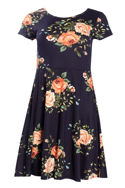 Floral Cap Sleeve Day Dress - Navy Womens Day Dresses FAIRWEATHER S