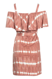 Tie Dye Ruffle Shoulder Day Dress - Pink Womens Day Dresses FAIRWEATHER