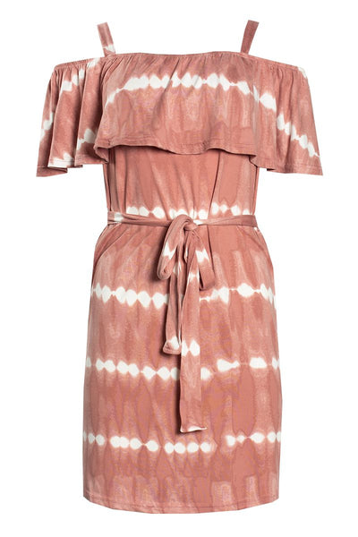 Tie Dye Ruffle Shoulder Day Dress - Pink Womens Day Dresses FAIRWEATHER S
