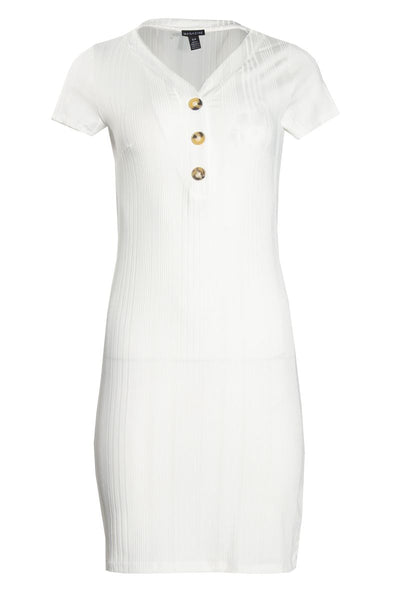 V-Neck Button Ribbed Day Dress - White Womens Day Dresses FAIRWEATHER S