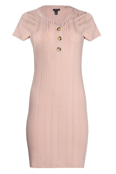 V-Neck Button Ribbed Day Dress - Pink Womens Day Dresses FAIRWEATHER S