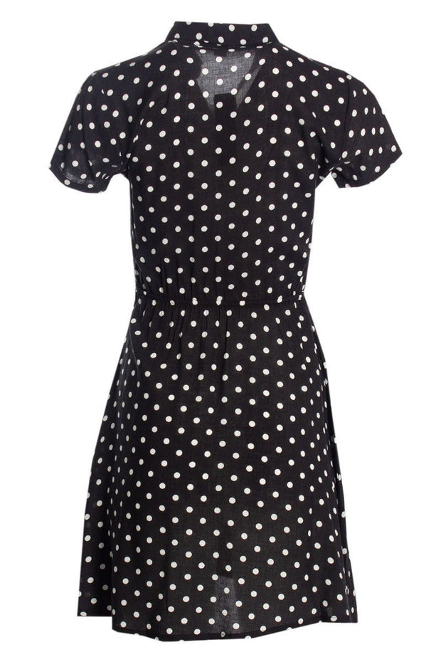 Polka Dot Button-Up Sundress - Black Womens Sundresses FAIRWEATHER