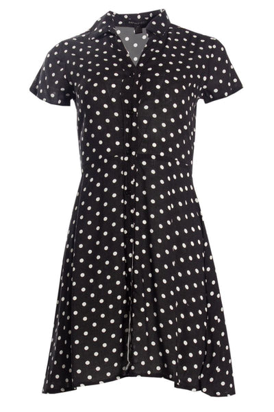 Polka Dot Button-Up Sundress - Black Womens Sundresses FAIRWEATHER S
