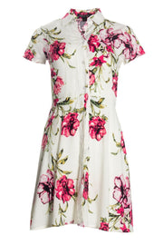 Floral Button-Up Sundress - White Womens Sundresses FAIRWEATHER S