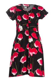 Floral Button-Up Formal Dress - Black Womens Formal Dresses FAIRWEATHER S