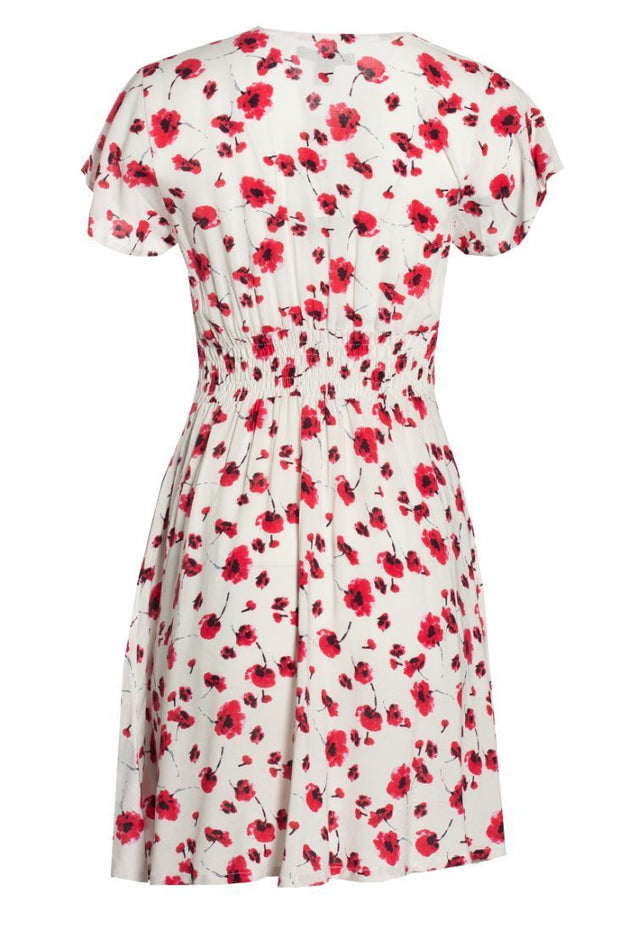Floral Button-Up Formal Dress - White Womens Formal Dresses FAIRWEATHER