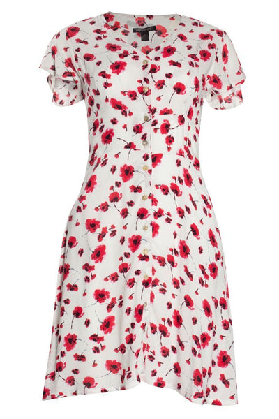 Floral Button-Up Formal Dress - White Womens Formal Dresses FAIRWEATHER S