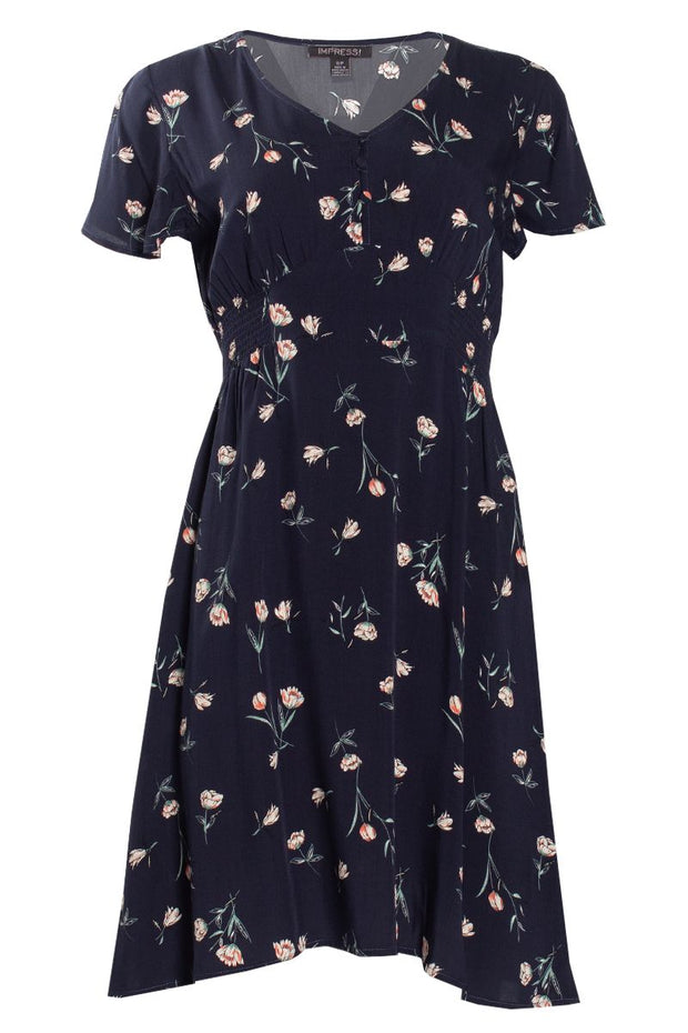 Floral Smocked Formal Dress - Navy Womens Formal Dresses FAIRWEATHER S
