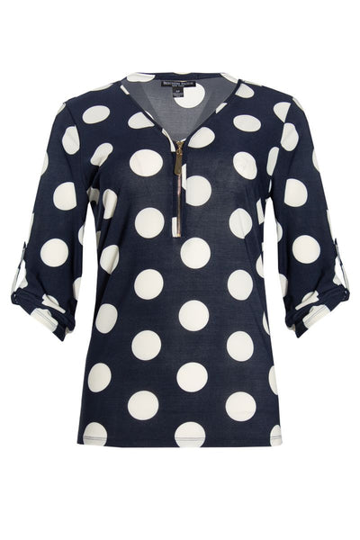 Polka Dot Blouse - Navy Womens Shirts & Blouses FAIRWEATHER S