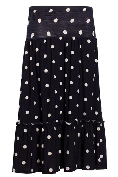 Polka Dot Ruffle Tiered Skirt - Navy Womens Skirts FAIRWEATHER S