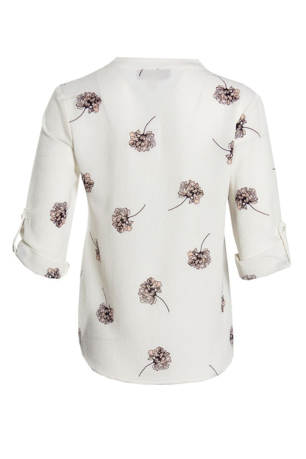 Floral Button-Up Shirt - White Womens Shirts & Blouses FAIRWEATHER