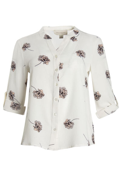 Floral Button-Up Shirt - White Womens Shirts & Blouses FAIRWEATHER S