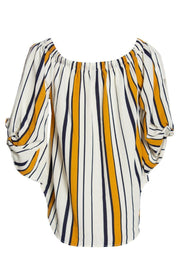 Striped Blouse With Necklace - White Womens Shirts & Blouses FAIRWEATHER
