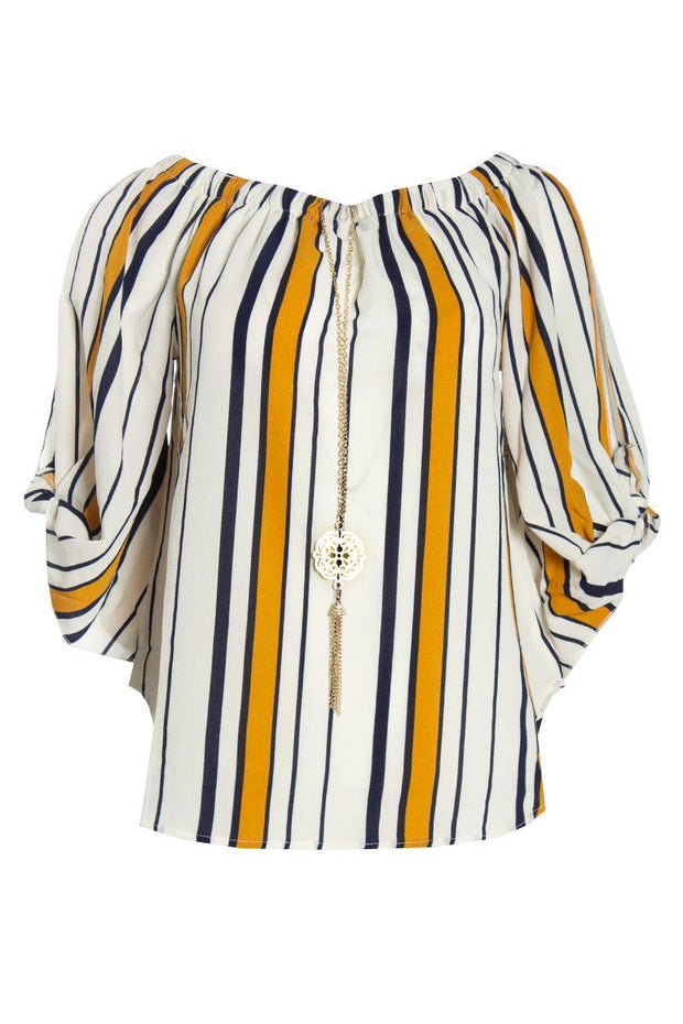 Striped Blouse With Necklace - White Womens Shirts & Blouses FAIRWEATHER S