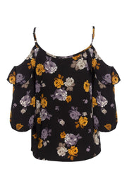 Floral Cold Shoulder Blouse - Black Womens Shirts & Blouses FAIRWEATHER