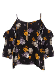 Floral Cold Shoulder Blouse - Black Womens Shirts & Blouses FAIRWEATHER S