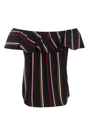 Striped Off-Shoulder Blouse With Necklace - Black Womens Shirts & Blouses FAIRWEATHER