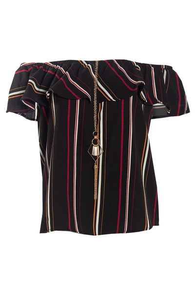 Striped Off-Shoulder Blouse With Necklace - Black Womens Shirts & Blouses FAIRWEATHER S