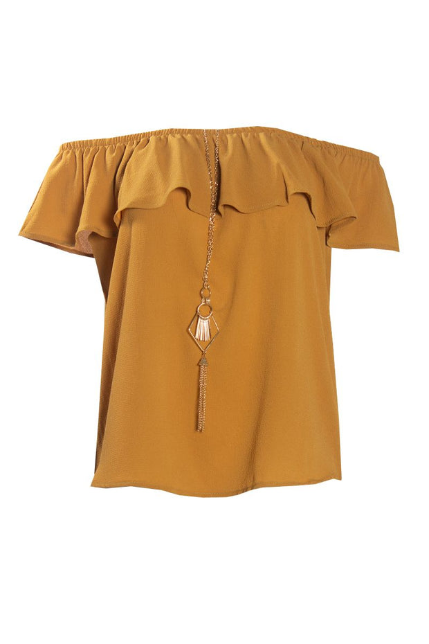 Off-Shoulder Blouse With Necklace - Mustard Womens Shirts & Blouses FAIRWEATHER S