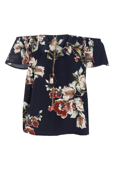 Floral Off-Shoulder Blouse With Necklace - Navy Womens Shirts & Blouses FAIRWEATHER S