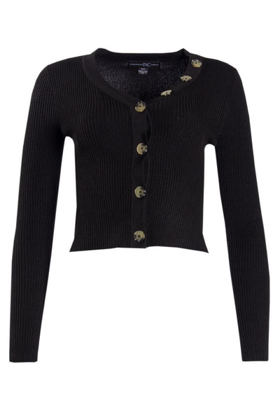 Ribbed Button-Up Cardigan - Black Womens Cardigans FAIRWEATHER S