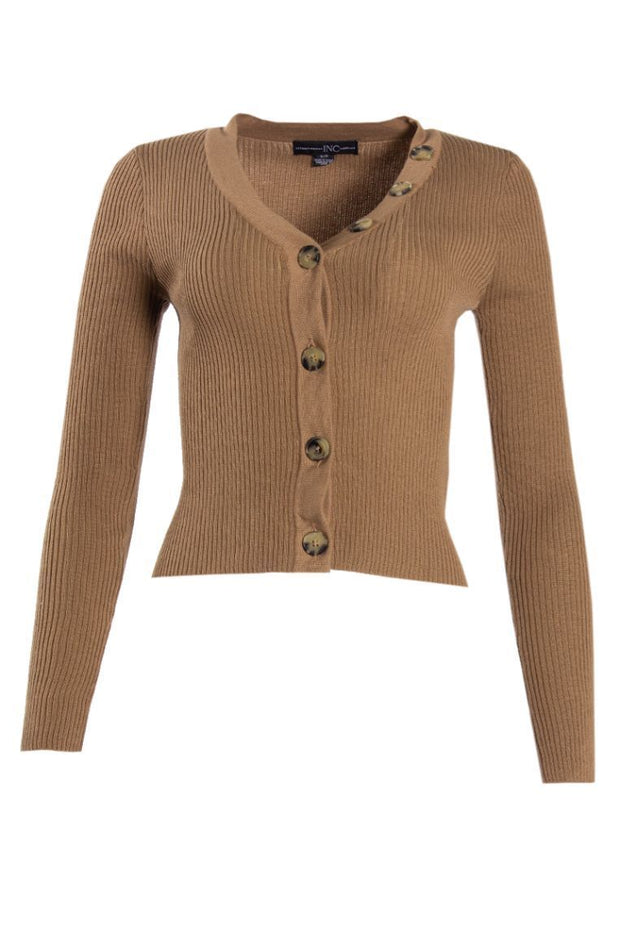 Ribbed Button-Up Cardigan - Camel Womens Cardigans FAIRWEATHER S