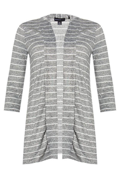 Striped Cardigan - Grey Womens Cardigans FAIRWEATHER S