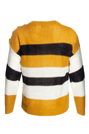 Striped Knit Pullover Sweater - Yellow Womens Pullover Sweaters FAIRWEATHER