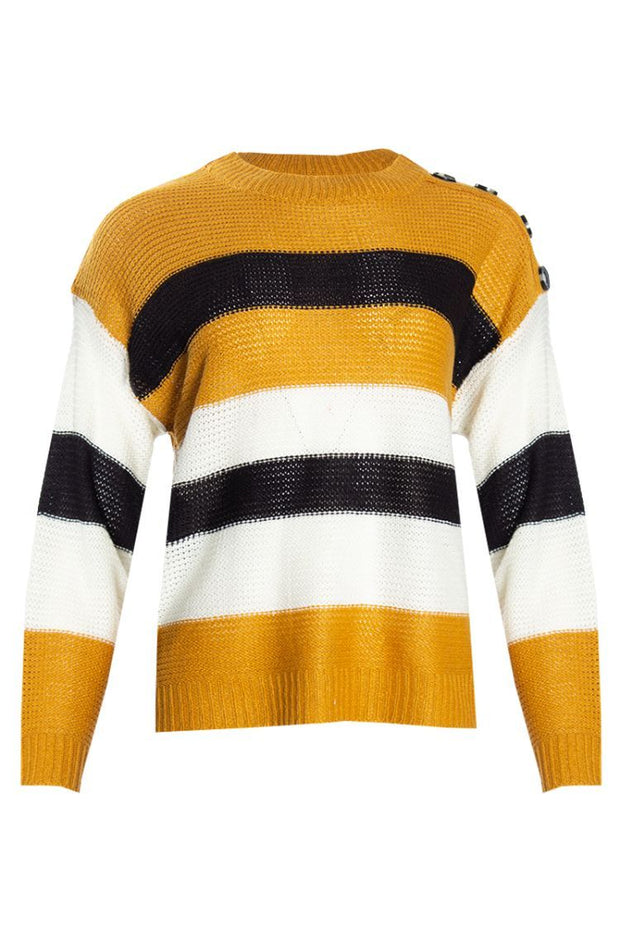 Striped Knit Pullover Sweater - Yellow Womens Pullover Sweaters FAIRWEATHER S