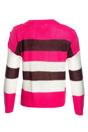Striped Knit Pullover Sweater - Pink Womens Pullover Sweaters FAIRWEATHER