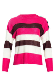 Striped Knit Pullover Sweater - Pink Womens Pullover Sweaters FAIRWEATHER S