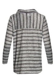 Striped Cowl Blouse - Grey Womens Shirts & Blouses FAIRWEATHER