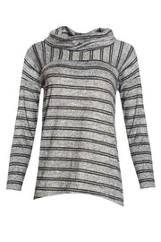 Striped Cowl Blouse - Grey Womens Shirts & Blouses FAIRWEATHER S