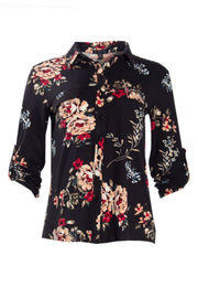 Floral Button-Up Shirt - Black Womens Shirts & Blouses FAIRWEATHER S