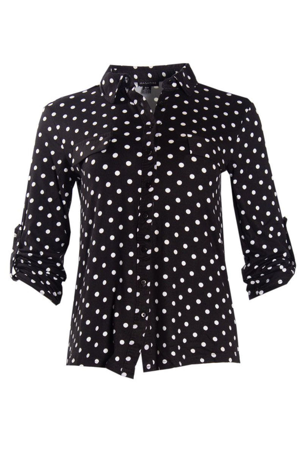 Polka Dot Button-Up Shirt - Black Womens Shirts & Blouses FAIRWEATHER S