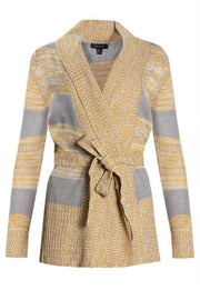 Striped Knit Cardigan - Yellow Womens Cardigans FAIRWEATHER S