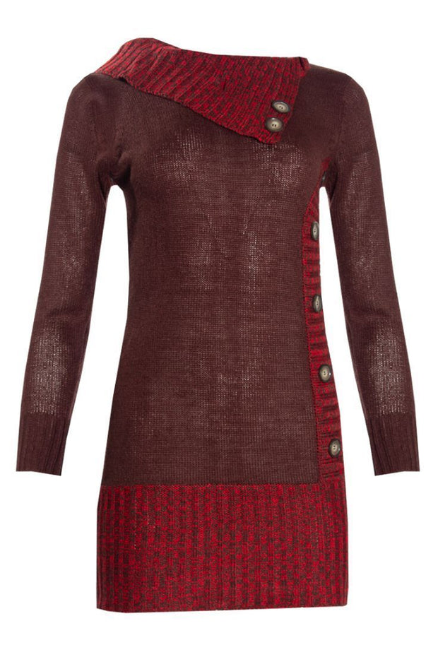 Knitted Pullover Sweater Dress - Burgundy Womens Sweater Dresses FAIRWEATHER S