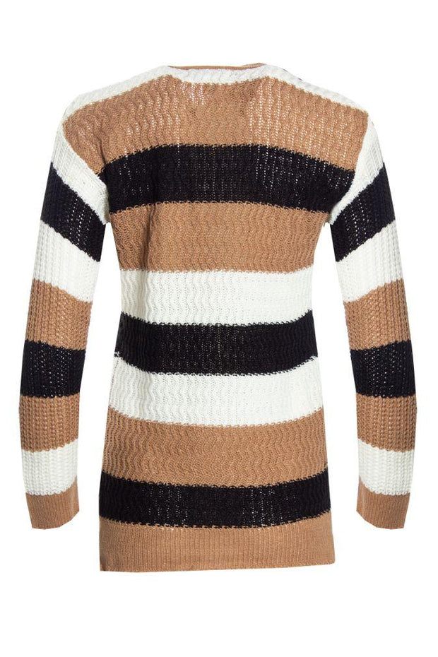Striped Pullover Sweater - White Womens Pullover Sweaters FAIRWEATHER