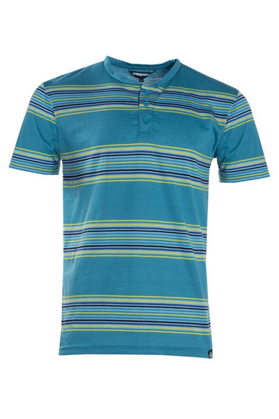 V-Neck Button Striped Tee - Blue Mens Tees & Tank Tops INTERNATIONAL CLOTHIERS S