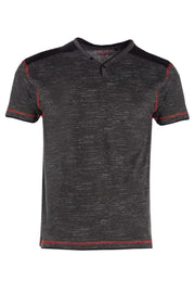 V-Neck Button Tee - Black Mens Tees & Tank Tops INTERNATIONAL CLOTHIERS S