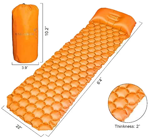 Inflatable Sleeping Pad w/Adjustable Pillow | Portable, Ultralight Compact Travel, Camping Sleep Mat | Cushioned Support | Waterproof