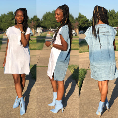 DENIM & T-SHIRT DRESS