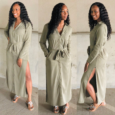 The Olive Tie Maxi/Shirt Dress